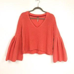 Free People Knit Sweater Flounce Sleeve M